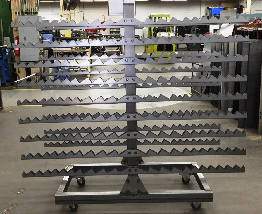 fabricated cart rack assembly